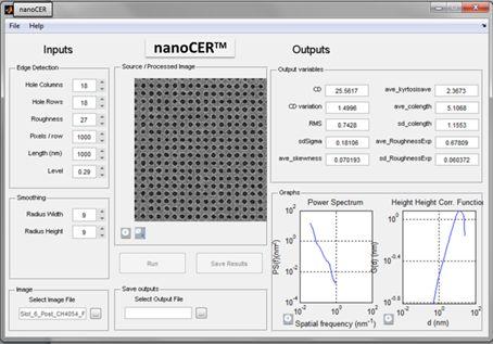GUI of nanoCER™ 2D software